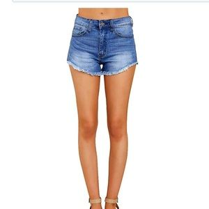 Pants - NEW High Rise Denim Cut Off Shorts Sz L